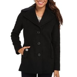 Calvin Klein Single Breasted Wool Blend Pea Coat